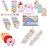 #10: Fareto®️ New Born Baby Combo Pack Of 7 Daily Needs Items In A Single Packet/6 Pcs Front Open Shirt 6 Pcs Cap & 6 Pcs Nappies/1 Mosquito Net Bed/1 Sleeping Bag/12 Nappies/6 Tying Mittens & Socks/4Plastic Sheet/3 Pillows/3 Blankets(0-6 Months)