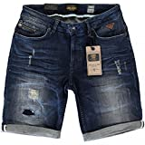 Derbe Jeans Bermuda in Dark Blue Used Waschung Destroyed Look von CARS Jeans Modell BANES (152)