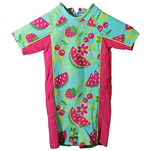 Mädchen Bade-Einteiler Schwimmanzug Badeanzug Kinder Baby türkis pink gemustert, Größe:92/98, Farbe:helltürkis