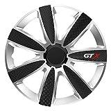 CM DESIGN GTX Carbon Schwarz Silber - 14 Zoll, passend für Fast alle Opel z.B. für Corsa C