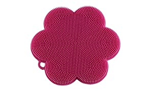 """Kuhn Rikon 23022 Stay Clean Flower Silicone Scrubber, 4.5"""", Pink"""