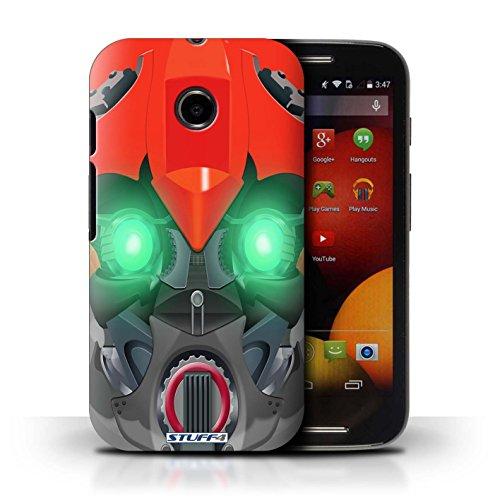 Kobalt® Imprimé Etui / Coque pour Motorola Moto E (2014) / Mega-Bot Vert conception / Série Robots Bumble-Bot Rouge