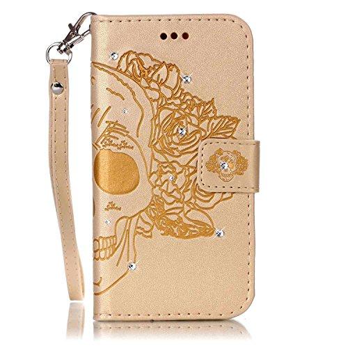 MOONCASE iPhone 5 Coque, Bling Crystal Diamond Gaufrage Motif Portefeuille Housse en PU Cuir Étui de Protection Case pour iPhone 5 / 5S / 5E (Campanule Violet) Crâne Or