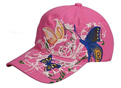Minetom Damen Vintage Schmetterlings Stickerei Baseball Cap Mädchen Beiläufige Mode Hip Hop Sport Golf Mütze Snapback Trucker Hat Rosa Einheitsgröße (Camo Bdu Woodland Shirt)
