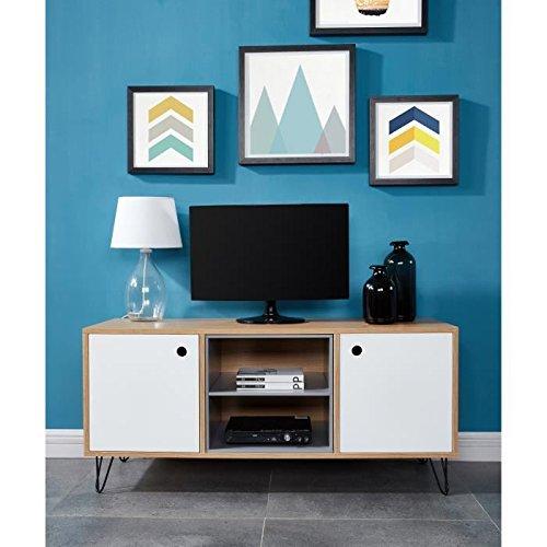 LEONTINE Meuble TV 110 cm - Décor chene, laqué blanc satiné et gris
