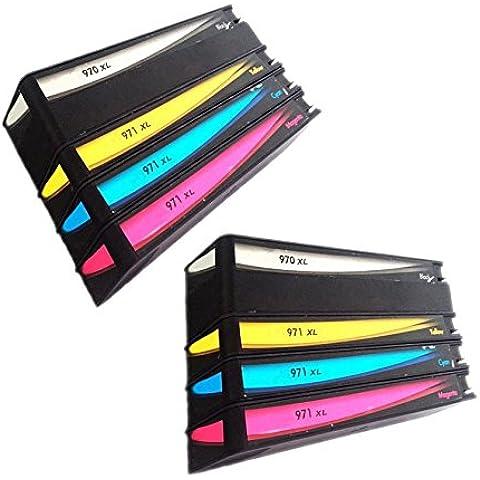 QINK 8unidades Recambio de cartucho de tinta para HP 970X L HP 971X L para impresoras HP Officejet Pro x576dw X451DN X451dw X476dw X476dn