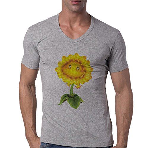 Flowers Nature Blossom Plant Sunflower Herren V-Neck T-Shirt Grau
