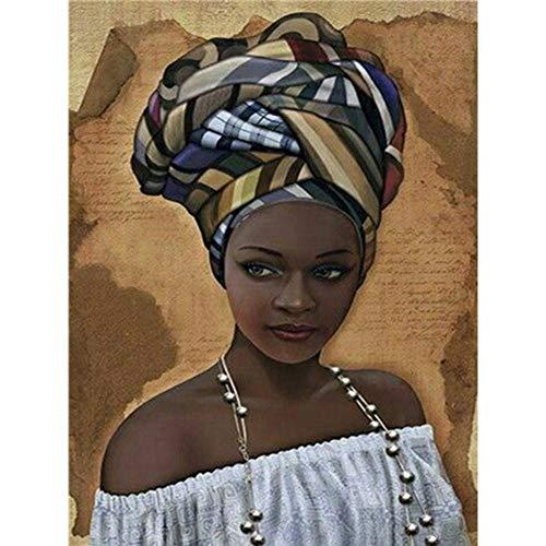 AnnBlue African Women Diamond Embroidery Scenery Wonders 5D DIY Diamond Painting Full Circle Rhinestone Cross Stitch Decorative Oil Painting Character