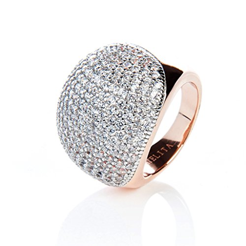 22ct Rose Gold Vermeil Micro pave Ball Ring - White Zircon Size 6 (L)
