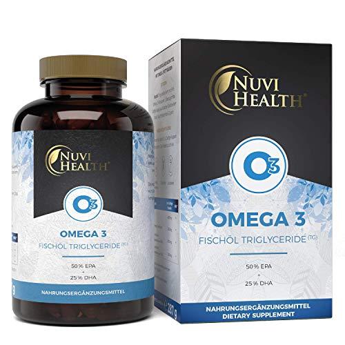 Nuvi Health® Omega 3 Fischöl - 200 Kapseln mit 3-fache Stärke: 80% Omega 3-Gehalt & in Triglyceride Form - 1000 mg (50% EPA + 25% DHA) - Laborgeprüft - Aufwendig aufgereinigt -Nachhaltiger Fischfang