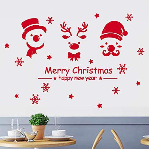 Pbldb 74X50 Cm Bonne Année Joyeux Noël Flocon De Neige Autocollant Mural Home Shop Windows Stickers Décor De Noël Décorations Pour La Maison Rouge