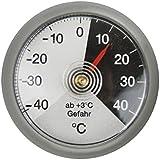 Thermomètre bimétallique analogique de voiture en plastique gris