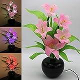 Tronje LED-Kunstblume Pink H:49cm Lilie 3W LED-Blume 5 Blüten optische Fasern Blumentopf Farbwechsel Kunst-Pflanze