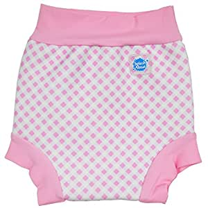 Splash About Kids Reusable Swim Nappy - THE Happy Nappy - Pink Gingham/White Rib, XS, Premature-NewBorn