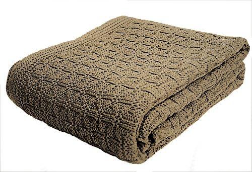 SonnenStrick 3009002 Babydecke/Kuscheldecke / Strickdecke aus 100% Bio Baumwolle kba Made in Germany, 100 x 90 cm, taupe