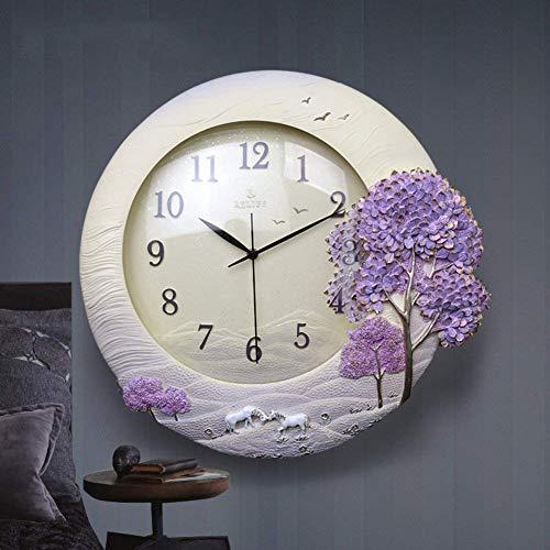 Ccyyjj round orologio classico soggiorno stereo creative silent modern decorative orologio da parete paesaggio moda decorazioni a parete-viola 45x48cm(18x19pollici)