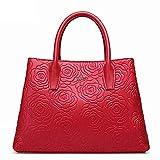 Mueka Damen Handtasche,Frauen Echtes Leder Tasche,Rindsleder Mit Großer Kapazität, Rosenmusterbeutel (einfarbig)