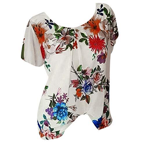 Lazzboy Donna Plus Size Tops T-Shirt Fiore Fiore Stampare O-Neck Manica Corta Daily Top Bluse(3XL(44-46),Bianco)