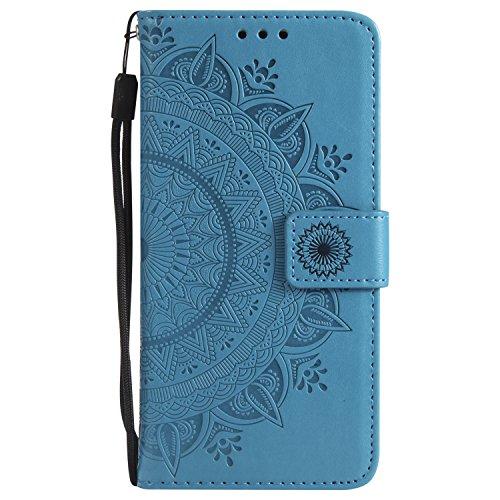 Kompatibel mit Handytasche Sony Xperia L1 Lederhülle Luxus Mandala Blumen Prägung Muster Handyhülle Ledertasche Bookstyle Klapphülle Flip Case Cover Schutzhülle Mit Magnetverschluss,Blau