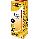 Bic 1199110114 Boîte de 20 stylos bille à pointe 0,8 mm, trait 0,2 mm, encre noire, couleur orange Box x 20 Red