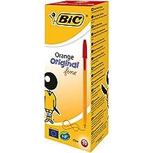 BIC Orange Original Fine Ballpoint Pens Fine Point (0.8 mm) - Red, Box of 20