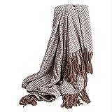 L&LQ 100% Baumwolle Throw Blanket Super Soft Fischgrätmuster Europa American Style Couch Abdeckung Gestrickte Decke mit Quasten, 230 * 150 cm