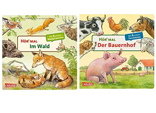 Carlsen Verlag GmbH Hör mal: Im Wald + Hör mal: Der Bauernhof (2 x Pappbilderbuch im Set)