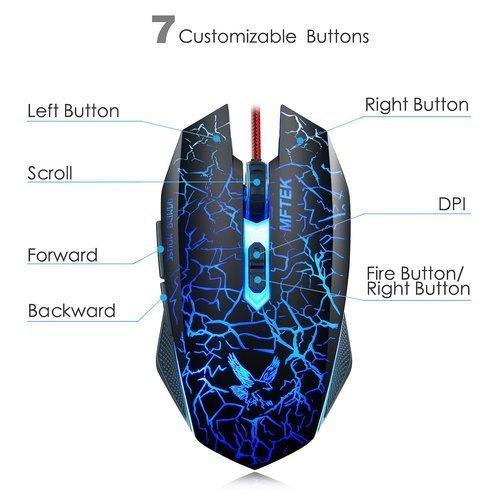 717e150c02b 16% OFF on MFTEK Gaming Mouse [2000 DPI] [Programmable] [Breathing ...