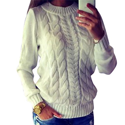 WanYang Chunky Sweater Pullover Womens Long Sleeve Crewneck Jumper Pullovers Knitted Sweaters Knitwear Blouse Tops For Lady White XL
