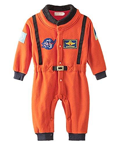Minetom Kinder Jungen Lange Ärmel Spielanzug Strampler Baby Overalls Mode Raum Anzug Orange (Raumanzüge Kinder)