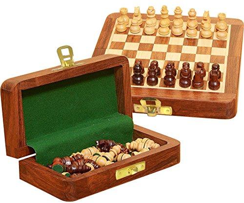 Holz Mit Schach-set Speicher (edivine Weihnachten & Urlaub Geschenk Holz Magnetverschluss faltbar Schachbrett mit Speicher-Set