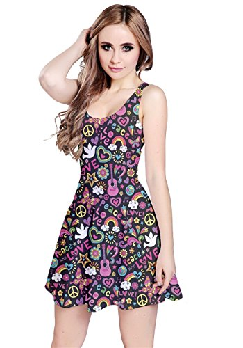 CowCow - Robe - Femme Green Doodles Colorful Groovy