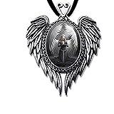 Betender Engel Anhänger Amulett Cabochon mit Halsband Engelanhänger Schmucksäckchen und Karte 14