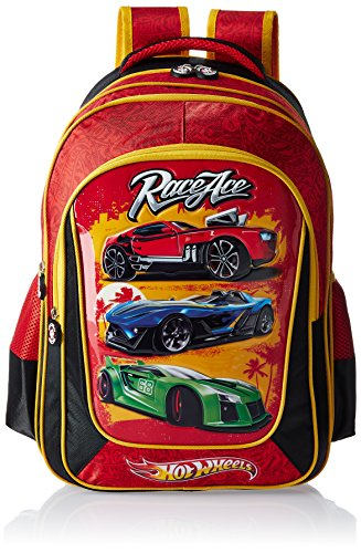 Hot Wheels 18 Inch Black and Red Children's Backpack (Age Group :8-12 yrs)