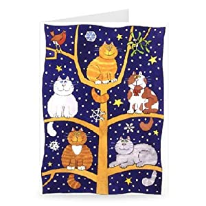 Five Christmas Cats by Cathy Baxter - Greeting Card (Pack of 2) - 7x5 inch - Art247 - Standard Size - Pack Of 2