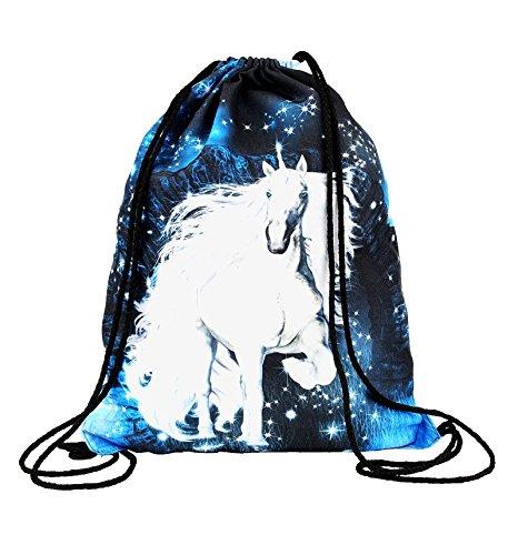 Hanessa Unicorn Jutebeutel mit Einhorn Motiv Aufdruck Sportbeutel Tüte Rucksack Beutel Tasche Gym Bag Gymsack für Mädchen Fashion Sport-Tasche Einkaufs-Tasche Einhörner Weiß RU-208 -