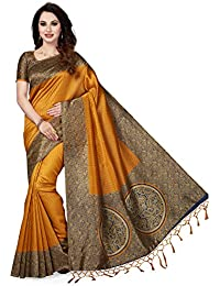 Ishin Art Silk Mustard Yellow Printed Women's Sari/ Sarees With Tassels