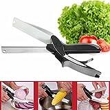 2-in-1 Clever Forbici Cutter GOCHANGE Mini Coltello da Cucina con Tagliere Integrato /per Insalate,Verdura,Carne,Patate e Pane,ecc (nero)