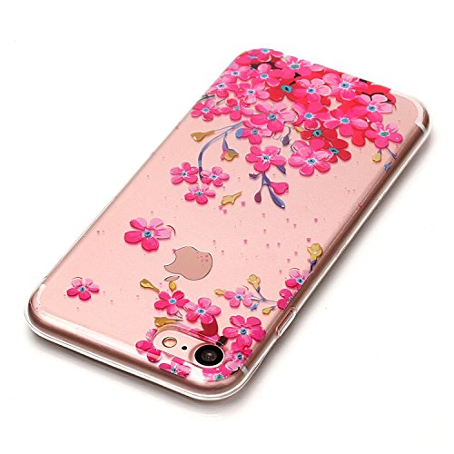 Linvei iPhone 7 hülle Tasche case cover,Ultra Dünn Weiche TPU Silikon Cover und bunte Muster Schutzhüllen für iphone 7-Grünes Mandala rote Blumen