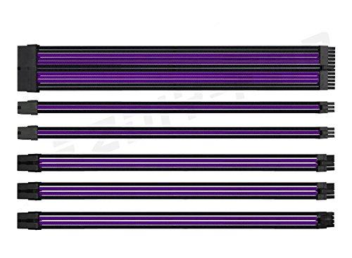 EZDIY-FAB Sleeved Cable - Kabelverlängerung für Stromversorgung mit Combs 24 Pin 8PIN 6PIN 4 + 4 Pin mit Combs- Schwarz Lila -