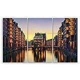 ge Bildet® hochwertiges Leinwandbild XXL - Wasserschloss in der Speicherstadt - Hamburg - 165 x 100 cm mehrteilig (3 teilig)| Wanddeko Wandbild Wandbilder Wohnzimmer deko Bild | 2211 D