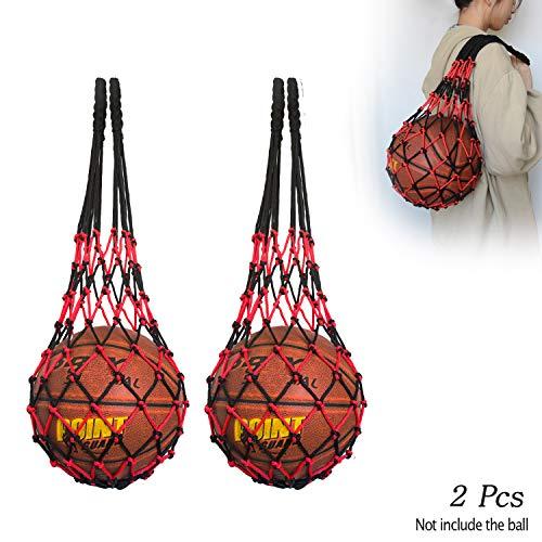 Hatisan-Pro Malla Deportes Bolso de la Bola Bolsa, Deportes Baloncesto Pelota Bolso, Bolsa de Malla de Nailon balón de Fútbol Baloncesto Voleibol Rugby Carry Net Bag, Versión Mejorada(Negro Rojo)