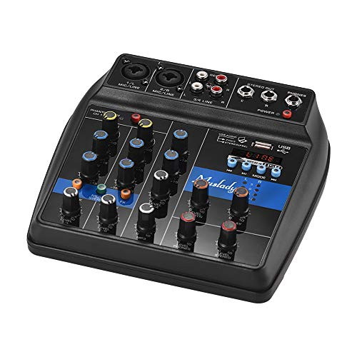 Kalaok S-1 Tragbarer 4-Kanal-BT-Mischpult Digitaler Audiomischer Integrierte Halleffekt-Effekte + 48-V-Phantomspeisung 2-Band-EQ-DC-DC-Netzteil (12 V) für die Aufnahme von DJ Network Live Broadcast - Amp Dj-mixer