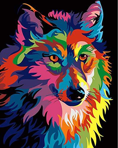 MBYWQ Digitale Malerei Bild Bunte Löwen Tiere Abstrakt Gemalt DIY DigitaleModerneWandkunstBild Für Wohnkultur, 40X50 cm, J(Ohne Rahmen)