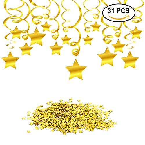 o,Geburtstag Dekoration Set, Konsait Hängedekoration Deckenhänger Spiral Girlanden(30 zählt) & Gold Funkeln Stern Tisch Konfetti (15 Gramm) für Baby Dusche Hochzeit Party Geburtstag Dekorationen (Gold) (Cute Baby-dusche-dekorationen)