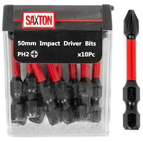 Saxton 10-teiliger Schraubendreher-Bit-Satz PH2-50-mm für Akkubohrschrauber, belastbar, in Tic-Tac-Box, kompatibel mit Dewalt, Milwaukee, Bosch