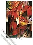 1art1 Poster + Hanger: Franz Marc Poster (91x61 cm) Füchse, 1913 Inklusive Ein Paar Posterleisten, Transparent