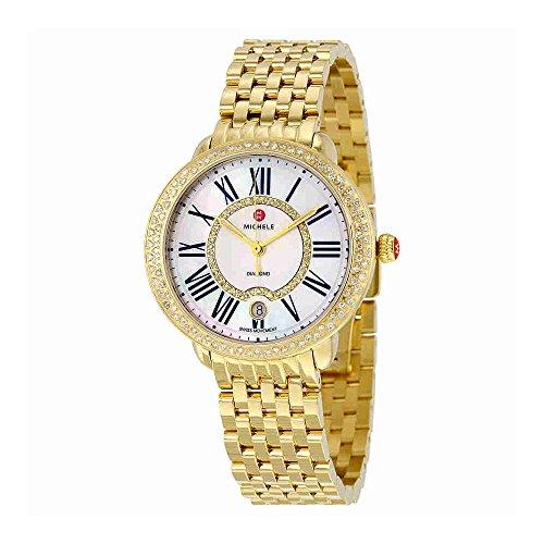 Michele Serein White Mother of Pearl Dial 18kt reloj de mujer de oro y plata MWW21B000031
