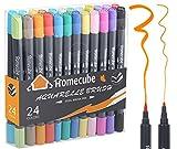 Marqueur Double Brosse,Homecube 24 couleurs Aquarelle Brosse Set de stylos Marqueur Dessin de Fournitures d'art Peinture Cadeau pour les Enfants