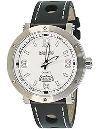 Nautec No Limit Herren-Armbanduhr XL Shamal Analog Quarz Leder SM QZ3/LTSTWH-WH